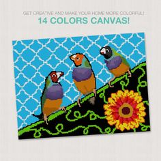 Three birds #needlepointcanvas 🐦 Your order will include this needlepoint design printed on high-quality Zweigart mono deluxe canvas. We will also send you a printed color aid and stitch guides for your canvas to help with your stitching. Needlepoint Designs, Needlepoint Canvases, Three Birds, Create Your Own, Stitching, Kids Rugs, Make It Yourself, Printed, Creative