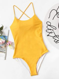 994a0097b7 Shop Criss Cross Open Back One Piece Swim online. SheIn offers Criss Cross  Open Back One Piece Swim & more to fit your fashionable needs.