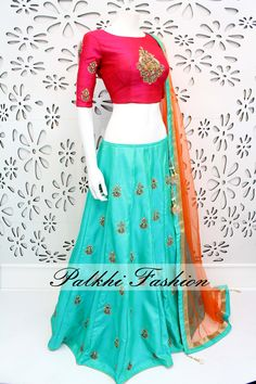 PalkhiFashion Exclusive Full flair Turquoise Designe Lehenga with Hand Worked Blouse and Duppata Choli Designs, Lehenga Designs, Blouse Designs, Ethnic Outfits, Indian Outfits, Lehnga Dress, Lehenga Choli, Indian Lehenga, Bridal Lehenga