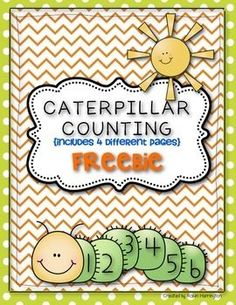 √ FREE {Caterpillar Counting Freebie} Common Core Math for Kindergarten! Kindergarten Math Activities, Preschool Math, Fun Math, Math Resources, Teaching Math, Maths, Counting Activities, Toddler Activities, Teaching Ideas