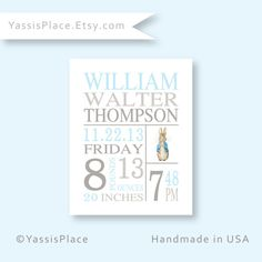 Baby Stats print, baby boy nursery wall art, Peter rabbit Decor, birth announcement, baby birth stats, baby name art print by YassisPlace $18