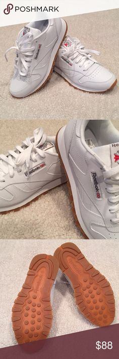 Will ship in original box (also in excellent condition) Size Junior - Fits  women Color White Gum Reebok Shoes Athletic Shoes e0f98d2c5