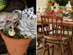 Páscoa - decoração de almoço country chic - arranjos de suculentas com ovos de codorna e detalhe da cadeira com almofadas verde oliva ( Arranjos: Lucia Milan )