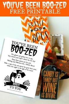 You've Been Boo-zed Free Printable. Just like the kids booed printable. It's time for the mamas to have some fun too, with this adult version of a basket of booze! What a fun Halloween Free Printable! Adult Halloween Party, Halloween Boo, Holidays Halloween, Halloween Treats, Happy Halloween, Halloween Decorations, Halloween Witches, Halloween Drinks, Outdoor Decorations