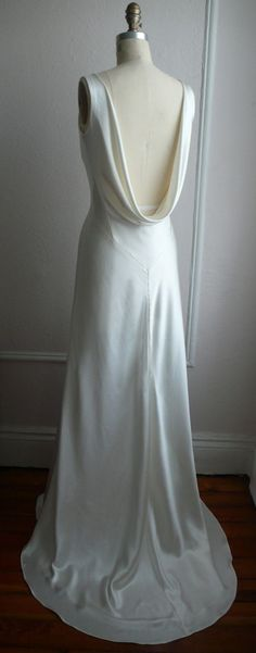 """1930's Inspired Bias Bridal Gown """"Ella"""", Low back, Backless, Cowl neck, Heavy Silk Satin, Customizable. $1,558.00, via Etsy. (I think I just found my future wedding dress. :O OMFG )"""