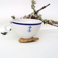 Navy Anchor Coffee Cup US Navy Dinnerware Nautical by WhimzyThyme,