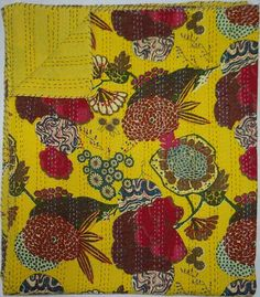 Indian handmade Queen Size Yellow Tropicana kantha by lavinas