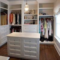 East End Country KItchens - closets - glass pendant, hardwood floors, recessed lighting, pot lights, crown molding, blue ceiling, painted bl...