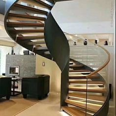 Wooden spiral stairs curved staircase 62 Ideas for Rustic Staircase, Staircase Railings, Curved Staircase, Staircase Makeover, Spiral Staircases, Escalier Art, Escalier Design, Spiral Stairs Design, Staircase Design