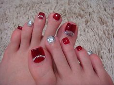 Red and glitter toe nail art Toenail Art Designs, Pedicure Designs, Pedicure Nail Art, Toe Nail Art, Manicure And Pedicure, Red Manicure, Red Nail, Pretty Toe Nails, Cute Toe Nails