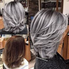 Resultado de imagen para frosted hair for gray hair