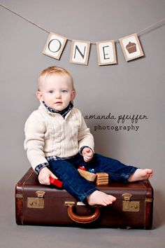 First Birthday ONE Banner with Cupcake, Cake Smash Photo Prop. $15.00, via Etsy.