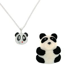 Panda Necklace Charm Pendant w/ in Panda Shaped Velour Gift Box with Squiggly Eyes Necklace Charm, Washer Necklace, Panda Gifts, Phone Accessories, Shapes, Christmas Ornaments, Eyes, Holiday Decor, Pendant