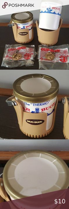 Mug-Buoy vintage boat camper cup holders Set of vintage mug-bouey cup holders. One plastic piece is broke off top of one of the removable Styrofoam coozies. Boat Cup Holders, Vintage Campers, Vintage Caravans, Vintage Trailers, Vintage Boats, Camping Set, Family Camping, Camping Tips, Mugs