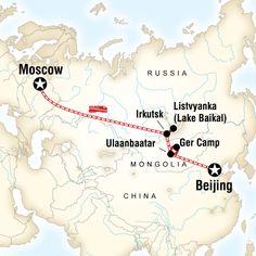 Karte der Route für Erlebnisreise durch die Mongolei