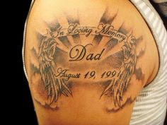 """I like the wings. In the middle put the saying :Never run faster than your guardian angel can fly"""""""