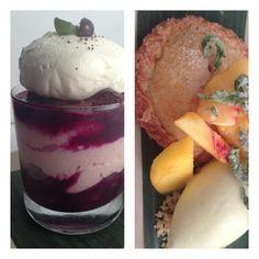 "New Frontera desserts, feat stuff from my backyard:dark choc-concord grape ""trifle,"" peach hand pie,lemon verbena Ice cream"