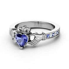 European Engagement Ring - Claddagh Ring Heart Blue Sapphire 14K White Gold Ring with Blue Sapphire & Diamonds - ER215BS from MDC Diamonds. #claddagh #hearts #royalblue #engagement #diamond #heart #ring.
