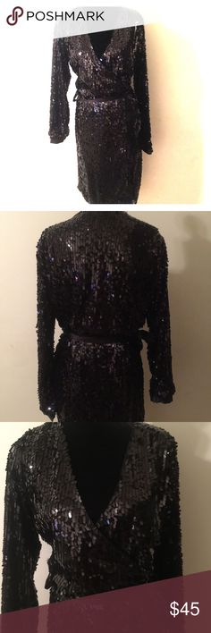 🍾🍾Sequins Wrap Dress Sz L Dress is in excellent preowned condition. Size large but like most Wrap dresses size is very flexible. Dress has shell lining as well. Great for any upcoming holiday event. Love Adam Dresses Midi