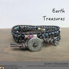 Earth Treasure Bracelet/ Japanese Power Stone/ Birthstone Memory Remembrance/ Layer LeatherWrap Bracelet/ Brown Black and Gemstone Bangle