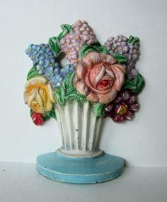Vintage Hubley Flower Iron Doorstop