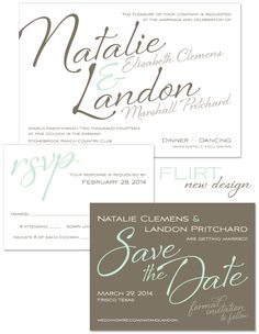 Flirt Wedding Invitation by The Green Kangaroo