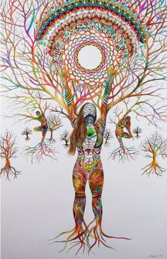 Tumblr is a place to express yourself, discover yourself, and bond over the stuff you love. It's where your interests connect you with your people. Arte Libra, Image Yoga, Chakra Art, Tree Woman, Prophetic Art, Art Brut, Goddess Art, Yoga Art, Hippie Art