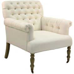 French Cream Tufted Arm Chair ($1,195) ❤ liked on Polyvore featuring home, furniture, chairs, accent chairs, ivory chair, ivory armchair, french arm chair, off white accent chair and wheel chair