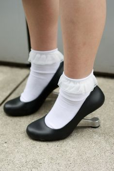 Loafers With Socks, Socks And Sandals, Bare Foot Sandals, Shoes Heels, Frilly Socks, Cute Socks, My Socks, Pantyhose Heels, Pantyhose Outfits