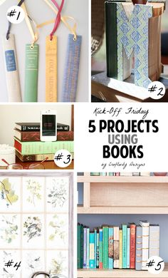 5 craft projects made from vintage books!! What creative ideas and perfect for book lovers. Don't throw away old books that are falling apart -- re-purpose them!