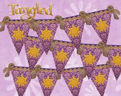 Tangled flag banner with sun symbol