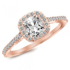14K Rose Gold Gorgeous Classic Cushion Halo Style Diamond Engagement Ring with a 0.75 Carat, J-K Color, VVS2-VS1 Clarity Center Stone