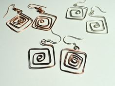 Hip To Be Square Hammered Metal Earrings by fatdogbeads on Etsy, $10.00