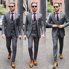 Grey Suits - Grey Men Suits For Wedding Business Prom Wear Wedding Tuxedos Groomsmen Suit Slim Fit Man Wedding Suit (jacket pant vest) Wedding Suit Rental, Wedding Suits, Wedding Tuxedos, Wedding Wear, Wedding Black, Mens Fashion Suits, Mens Suits, Man Fashion, Formal Prom Suits