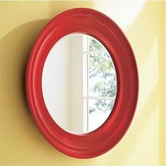 Pretty Red Oval Mirror