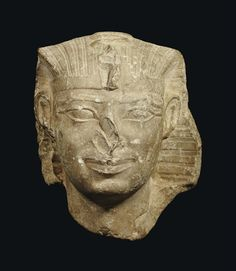 AN EGYPTIAN LIMESTONE HEAD OF A PHARAOH LATE OLD KINGDOM TO EARLY MIDDLE KINGDOM, DYNASTY VI TO XII, CIRCA 2300-1794 B.C.