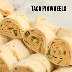 Taco Pinwheels Recipe Appetizers, Lunch with flour tortillas, cream cheese, taco seasoning, olives, green chile, green onions, jalapeno chilies, salsa