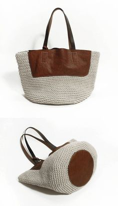 Crochet and genuine leather bag - idea: