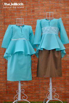 The Peplum Kurungs in Tiffany Blue.