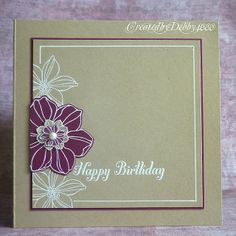 Rich Raspberry with white embossing and kraft cardstock.