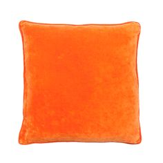 LYNETTE CUSHION ORANGE LRG.  $99.95 AUD. 100% Cotton Velvet Cushion with Linen Piping - 60 x 60cm.  Colour: Orange. Note: Every cushion is filled with a 100% feather insert.