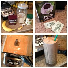 Chocolate Peanut Butter Frappuccino by Kari! (Healthy!)    -3/4 C unsweetened vanilla almond milk   -1 scoop Perfect Fit Protein   -2 T PB2 (powdered peanut butter)   -1 T cocoa powder   -1 packet Starbucks VIA (instant coffee)   -2 packets Stevia   -1 frozen banana (peel & slice before freezing)   -1 C ice Blend 2-3 minutes until smooth.   (if you're having it for meal 4 on the Tone It Up Nutrition Plan, you can replace the banana with 2 tsp of peanut butter and use decaf coffee! mmm)