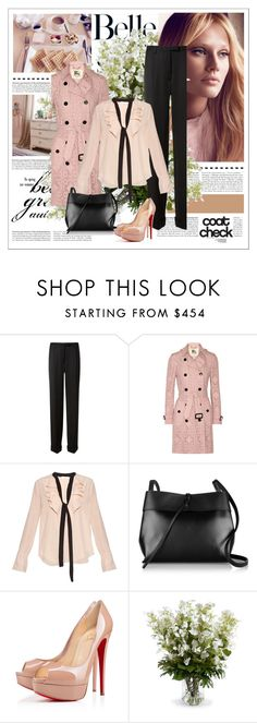 """Pretty Pastel Trench Coat"" by dragonflylt ❤ liked on Polyvore featuring Maison Margiela, Burberry, Chloé, Kara, Christian Louboutin and New Growth Designs"