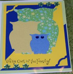 Owl In The Family A2 blue and yellow handmade greeting card by The Royal Pumpkin on The CraftStar #thecraftstar #uniquegifts