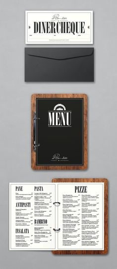 Menu cards and diner cheques for Italian restaurant Il Bandito by Thunder&Bold. The wooden backplates are hand made by YOT Design.