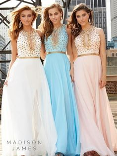 Madison James 15-154 Gold Studded Prom Dress Evening Gown