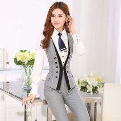 Quality autumn and winter ol grey vest and pants suit twinset women& cute patchwork uniform too. Suit Fashion, Work Fashion, Fashion Dresses, Suits For Sale, Suits For Women, Clothes For Women, Business Outfits, Business Attire, Womens Dress Suits