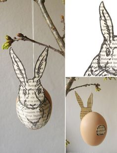 Easter bunny decoration #easter use up all our plastic eggs for this; craft paint and newspaper