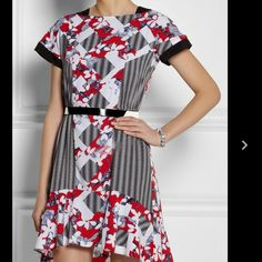 """Peter Pilotto for Target Dress NWT size 2 Red, black and blue abstract print dress with hi-low hem. Belt included. Swing bottom skirt and is tts. Waist is approximately 28"""" FIRM// NO PP// NO TEADES Peter Pilotto for Target Dresses High Low"""