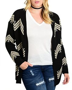b681fe745db92b Plus Size Cardigan For Women Long Sleeve Knitted Open Fro... https